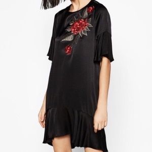 Zara Black Satin Embroidered Dress Medium